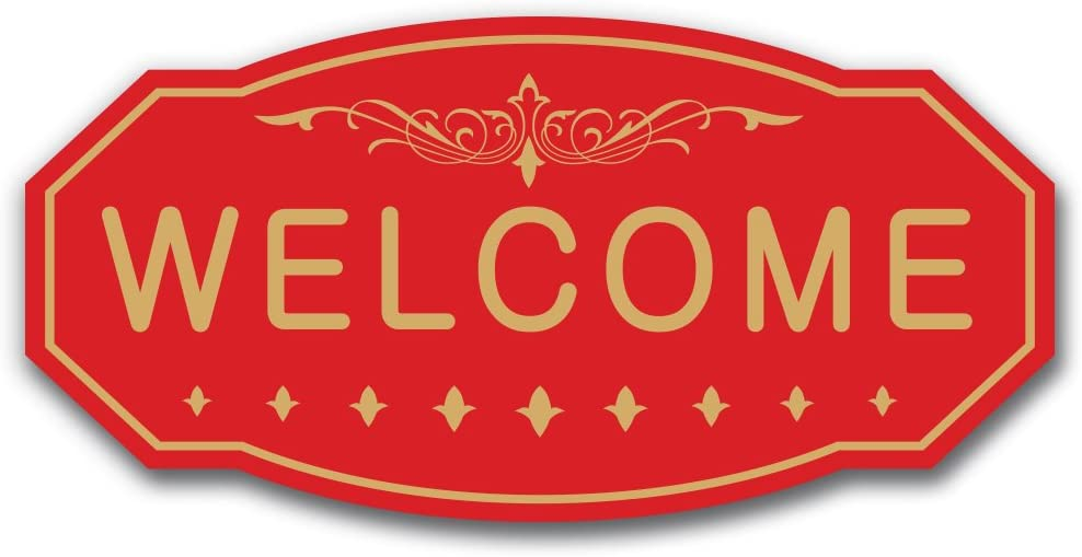 White WELCOME Victorian Door Small 3 x 6 Wall Sign