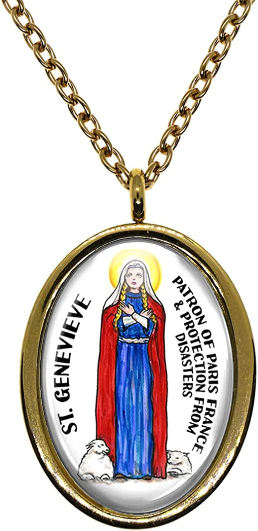 My Altar Saint Genevieve Patron of Paris France /& Disaster Protection Gold Stainless Steel Pendant Necklace