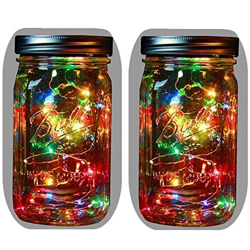 (2-Pack Solar Powered Mason Jar Lights (Mason Jar & Handle Included),5 Colors 10 Bulbs Waterproof Jar Hanging Light,Garden Outdoor Solar Lanterns,Hanging Lantern,Mason Jar Decor,Table Light,Patio Path)
