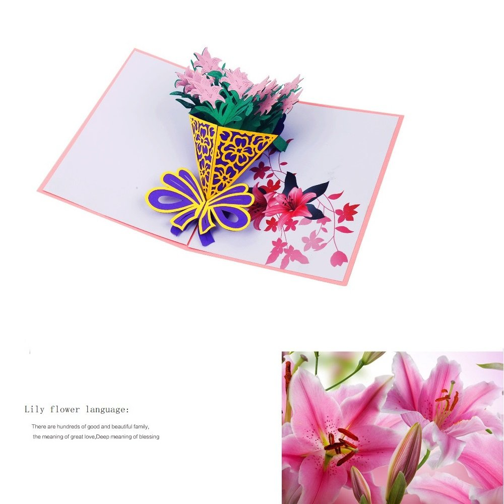 Amazon luoxia lily flower 3d pop up greeting cards with amazon luoxia lily flower 3d pop up greeting cards with envelopes mothers day cards thanks giving baby house warming birthdays izmirmasajfo