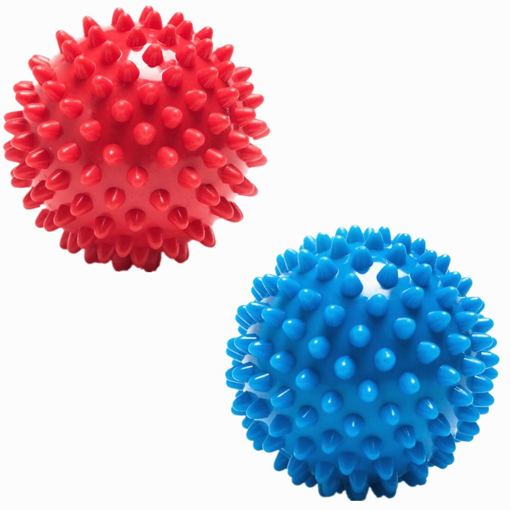 Yocome 2 Pcs Round Shape Finger Hand Exerciser & Strengthener Exercises Ball - Spiky Massage Balls - Foot Massage Ball Roller For Muscle Stress Relief & Physical Therapy, Random Color