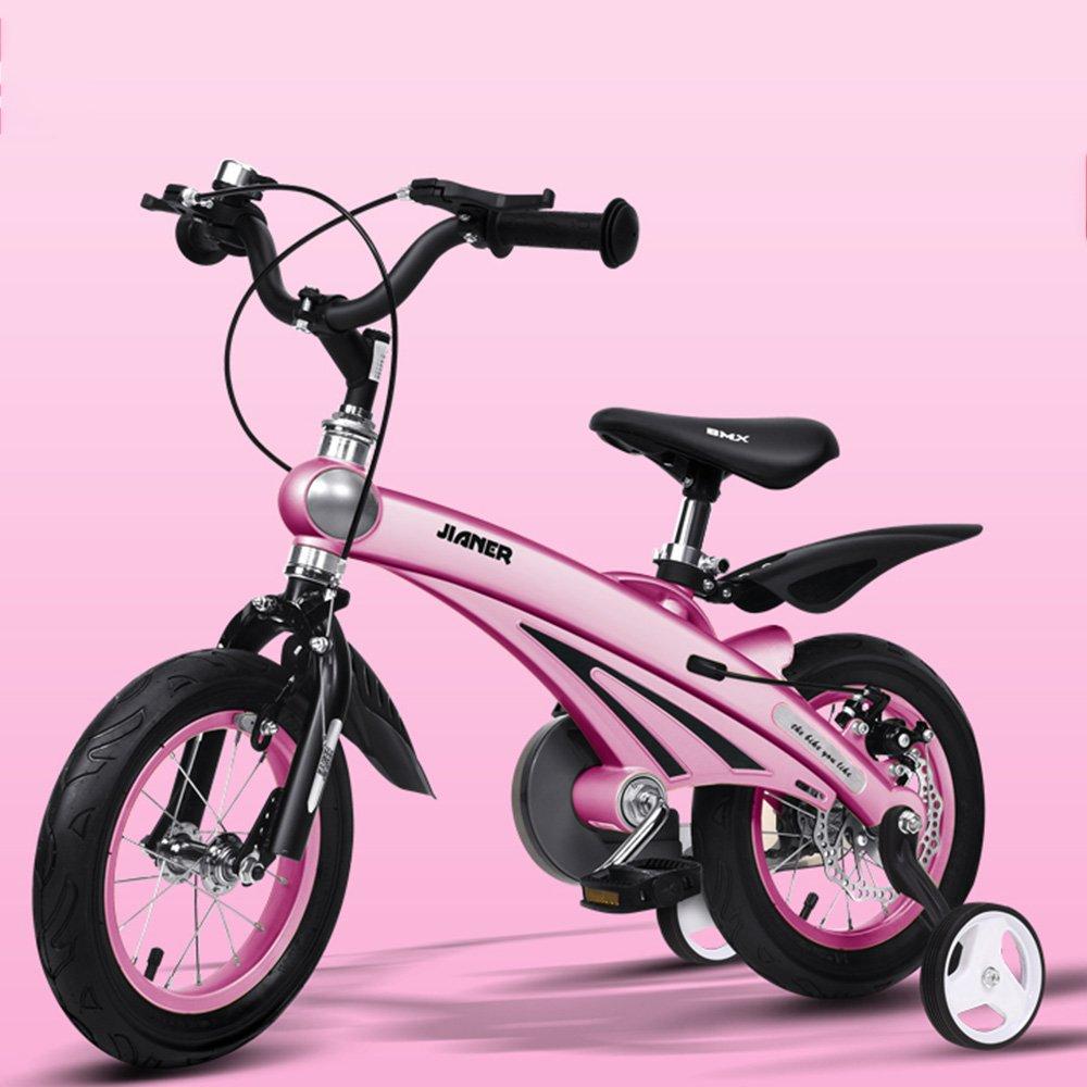 YANFEI 子ども用自転車 子供用自転車211歳の子供に適したマグネシウム合金のボディーバイク 12/14/16インチの三輪車 子供用ギフト B07DZHP3C8 12Inch|ピンク ぴんく ピンク ぴんく 12Inch