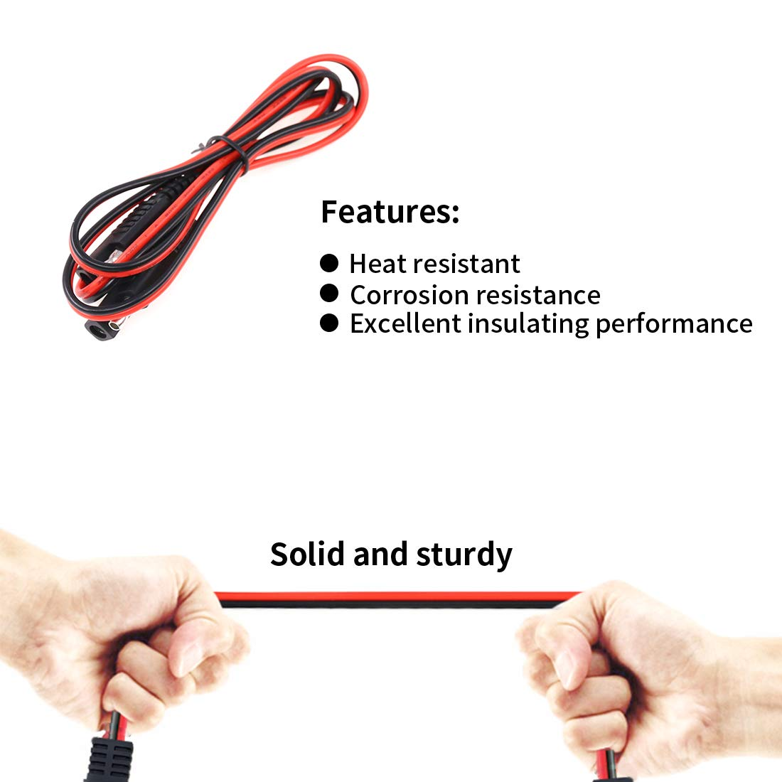 Hilitchi 2 Pcs 3FT 6FT 18 Gauge SAE to SAE Extension Cable Quick Disconnect Wire Harness 2 Pin Quick Disconnect Extension Wire Automotive Extension Cable