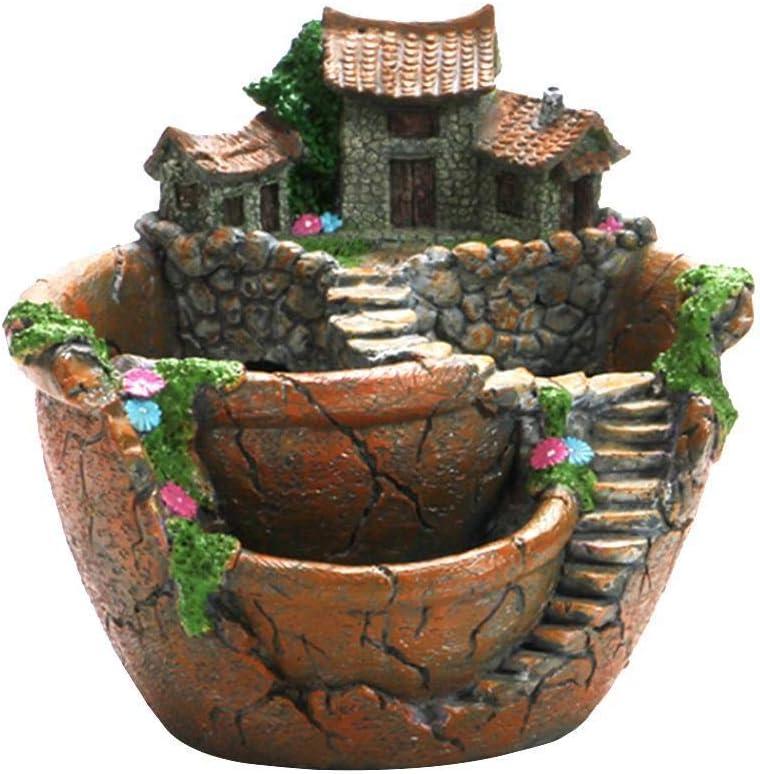 ZBRO Planter Flower Plant Pots Fairy Garden Pot with Sweet House - Succulent Garden Flower Pot Decoration in Hanging Garden (Orange)