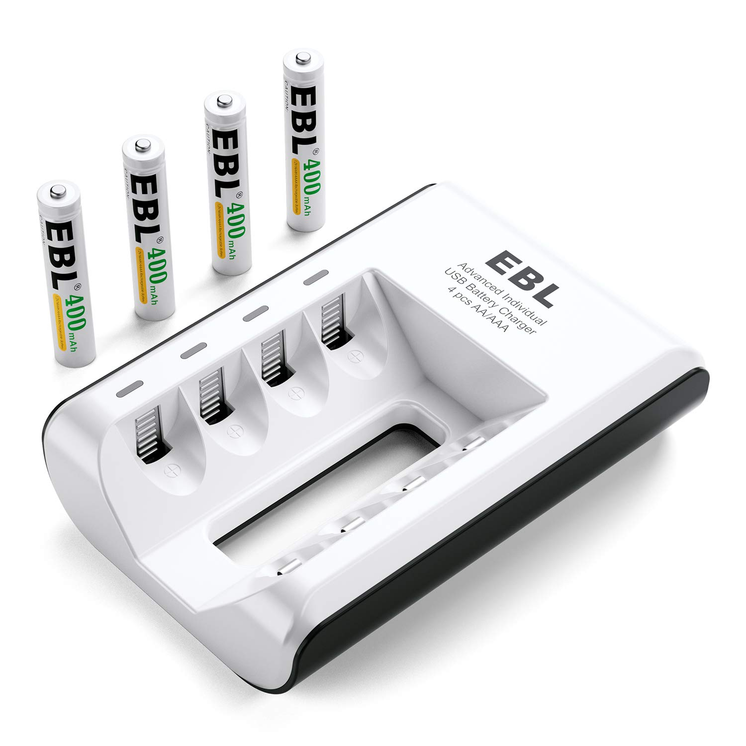 EBL AA AAA AAAA Ni-MH Ni-CD Individual Smart Battery Charger with 4 Packs AAAA Rechargeable Batteries 400mAh Surface Pen Battery