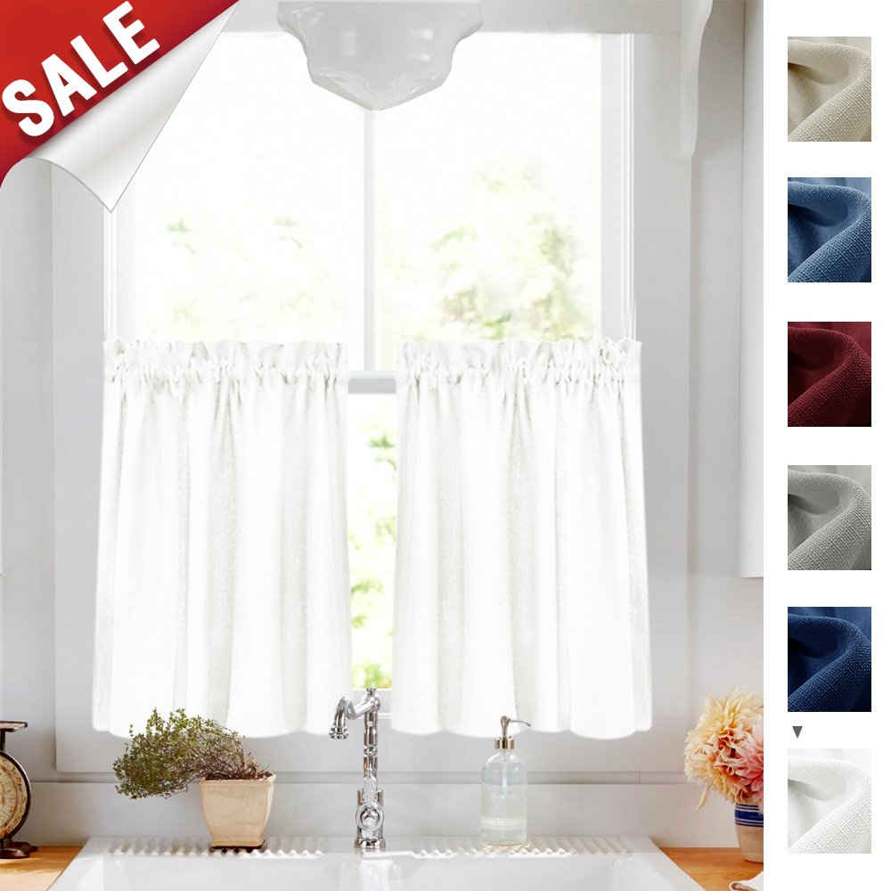 24 inch White Kitchen Tiers Semi Sheer CAF?Curtains Rod Pocket Casual Weave Textured Half Window Curtains for Bathroom 2 Panels