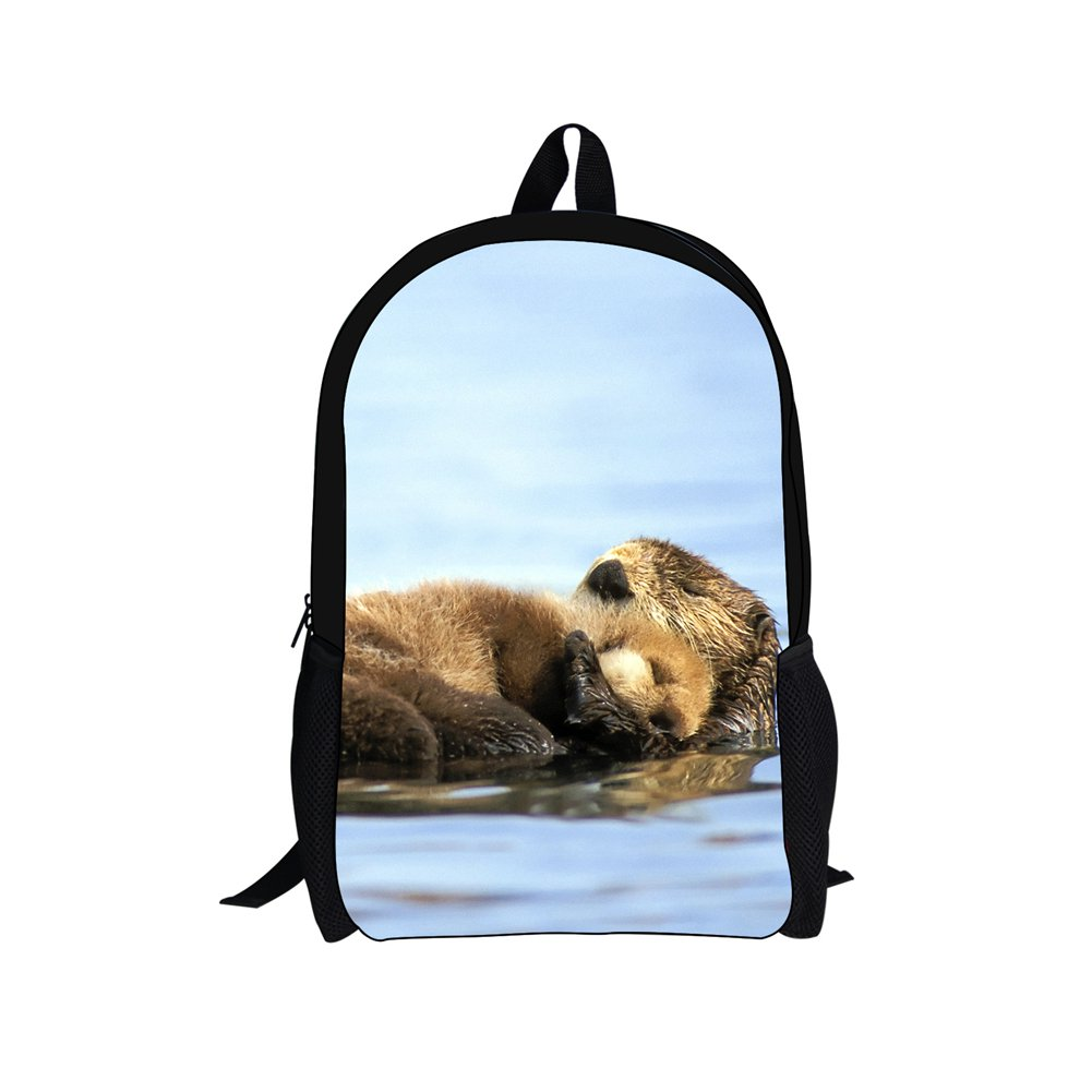 Bigcardesigns Family Love Otter Backpack Schoolbag Book Bag Satchel Travel