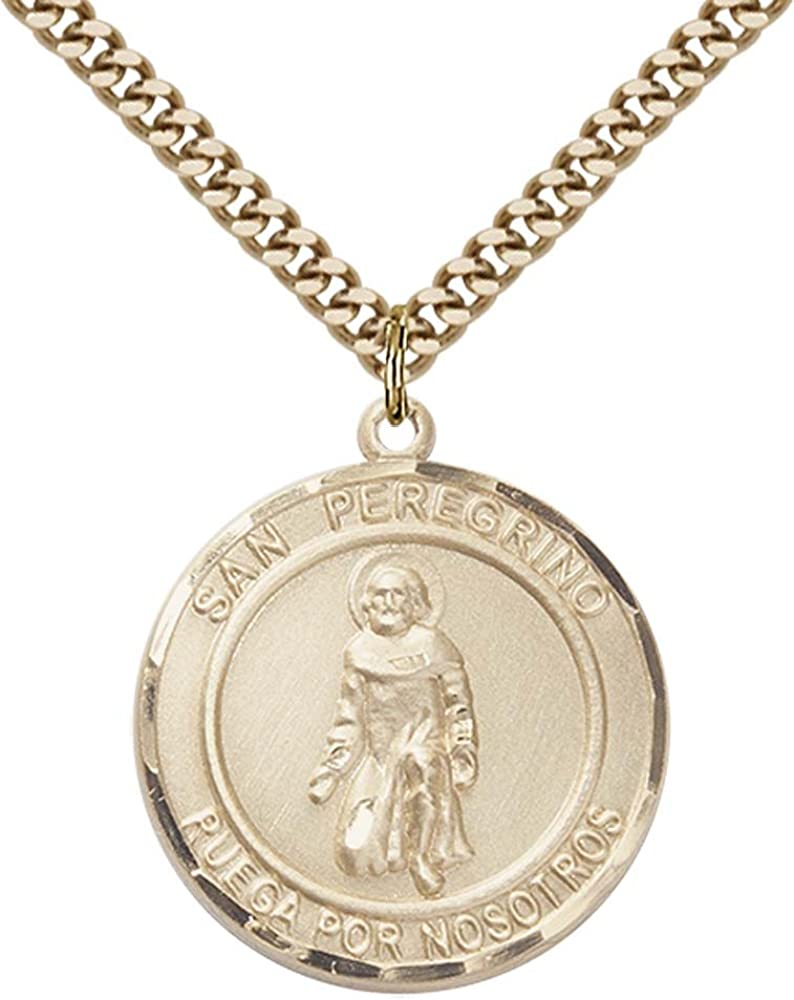 Stainless Steel Heavy Curb Chain. 14kt Gold Filled San Peregrino Pendant with 24 Gold Plated