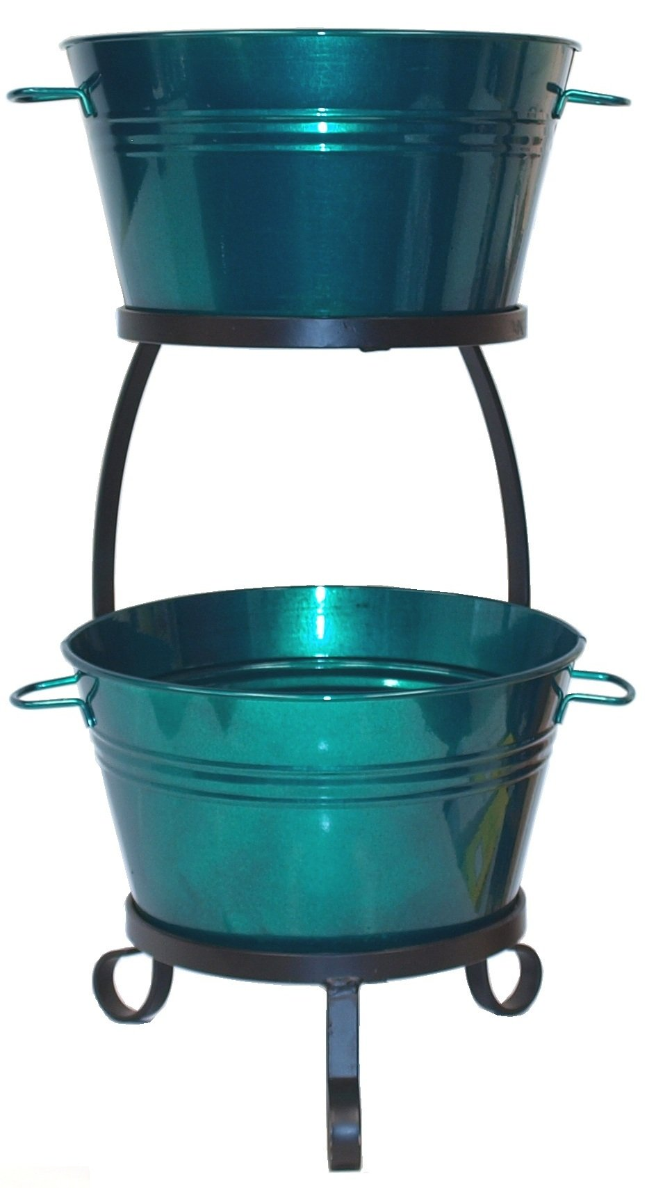 HIT 8020E GG Galvanized Heavy Gauge Steel Beverage Tub with Iron Stand, 13.5 by 30-Inch, Glazed Green