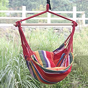 hanging rope hammock chair porch swing seat large hammock net chair rh amazon co uk Patio Hammock Chair with Frame Pool Outdoor Lounge Chairs