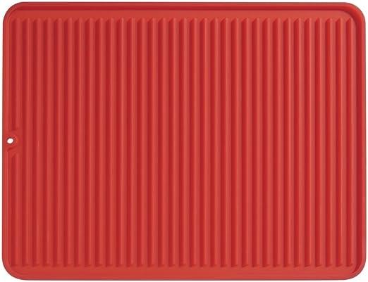rojo alfombrilla escurreplatos de silicona para fregadero de tama/ño grande iDesign Secaplatos para fregadero escurridor de platos y vasos