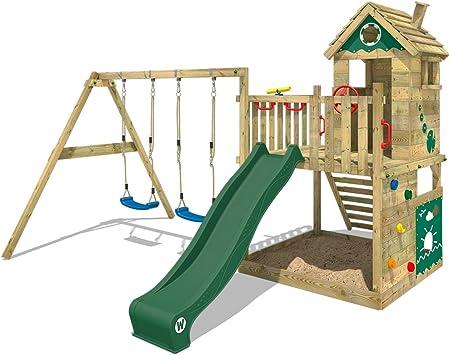 WICKEY Parque infantil de madera Smart Lodge 120 con columpio y tobogán verde, Casa de juegos de jardin con arenero y escalera para niños: Amazon.es: Bricolaje y herramientas