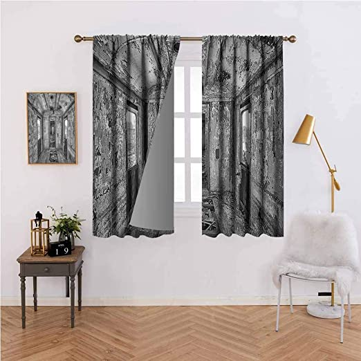 Amazon Com Rustic Home Decor Curtain For Door Window Interior Of An Antique Aged Railway Wagon Burnt Destruction Picture Energy Efficient Room Darkening W84x84l Gray Home Kitchen