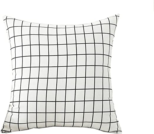 18'' Stylish Pillow Case Grid Plaid Pattern Office Home Sofa Car Cushion Cover