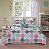 Purple and Teal Twin Bedding Mi-Zone Carly Twin/Twin XL Girls Quilt Bedding Set - Teal, Purple, Doodled Circles Polka Dots - 3 Piece Teen Girl Bedding Quilt Coverlets - Ultra Soft Microfiber Bed Quilts Quilted Coverlet