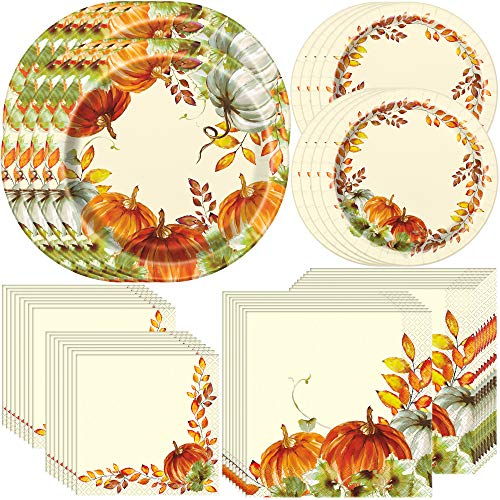 Unique Watercolor Fall Pumpkins Tableware Essentials | Banquet & Dessert Plates, Luncheon & Beverage Napkins | Autumn, Fall, Thanksgiving Table Decorations (Plate Decorations Thanksgiving)
