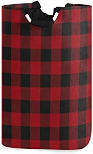 WXLIFE Laundry Hamper Geometric Plaid Grid Pattern Collapsible Laundry Basket Large Storage Bag, Foldable Organizer Clothes Bag with Handle for Home, Dorm, Room