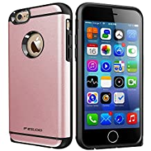 iPhone 6 Case,iPhone 6S Case,High Impact Heavy Duty Armor Hybrid Dual Layer Hard PC Outer Shell and Soft TPU Inner Defender Bumper Protective Case for Apple iPhone 6 6S (4.7) (Champagne Gold)
