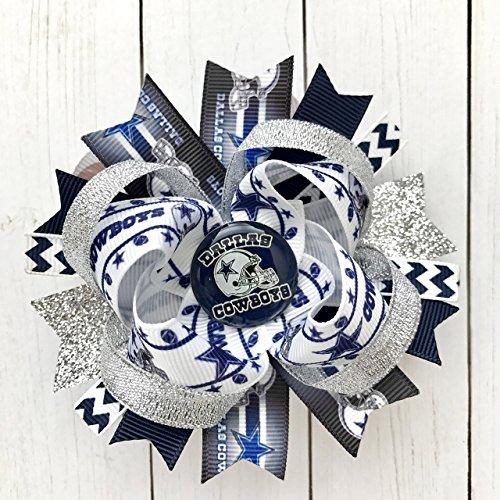 Accessory Cowboy (Dallas Cowboys Hair Bow, 4 Inches Medium NFL Football Silver Blue Navy Dallas Cowboys Accessories)