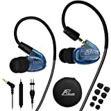 In Ear Headphones with Microphone, Wired Earbuds Earhook Removable Cable Noise Isolating Ear Buds, Sport Earbuds Earphones for Jogging Gym Fitness Running Workout, iPhone iPod Samsung Blue