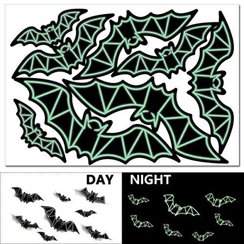Halloween Bat Wall Decals Fluorescent Decorations, Yomiie Luminous Window Stickers Glow in the Dark Halloween Party Kids Home Room Decor