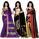 Trendz Combo Pack of Two Saree(Combo_Maliya_Purple_Arun_Black_Patta_Red)