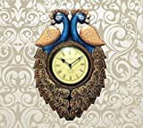 CraftVatika Gorgeous 17'' Large Wall Clock Peacock Wood Handmade Painted - Decorative Wall Clocks - Home Decor India