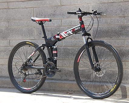 Hycy 26 Pulgadas Plegables Bicicleta De Montaña 21 Velocidad Doble Amortiguación Coche Cambio Una Rueda Doble