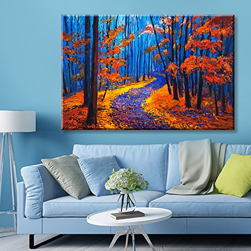 Vibrant Color Oilpainting Style Forest in Blue and Red