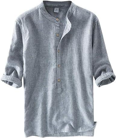 Tomwell Elegante Camisa Hombre Lino Blusa Transpirable Manga Corta Color Sólido Casual Shirt Tops: Amazon.es: Ropa y accesorios