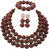 Product review for laanc 3Rows Womens Necklace Bracelet Earrings African Beads Nigerian Wedding Party Jewelry Sets 18inch