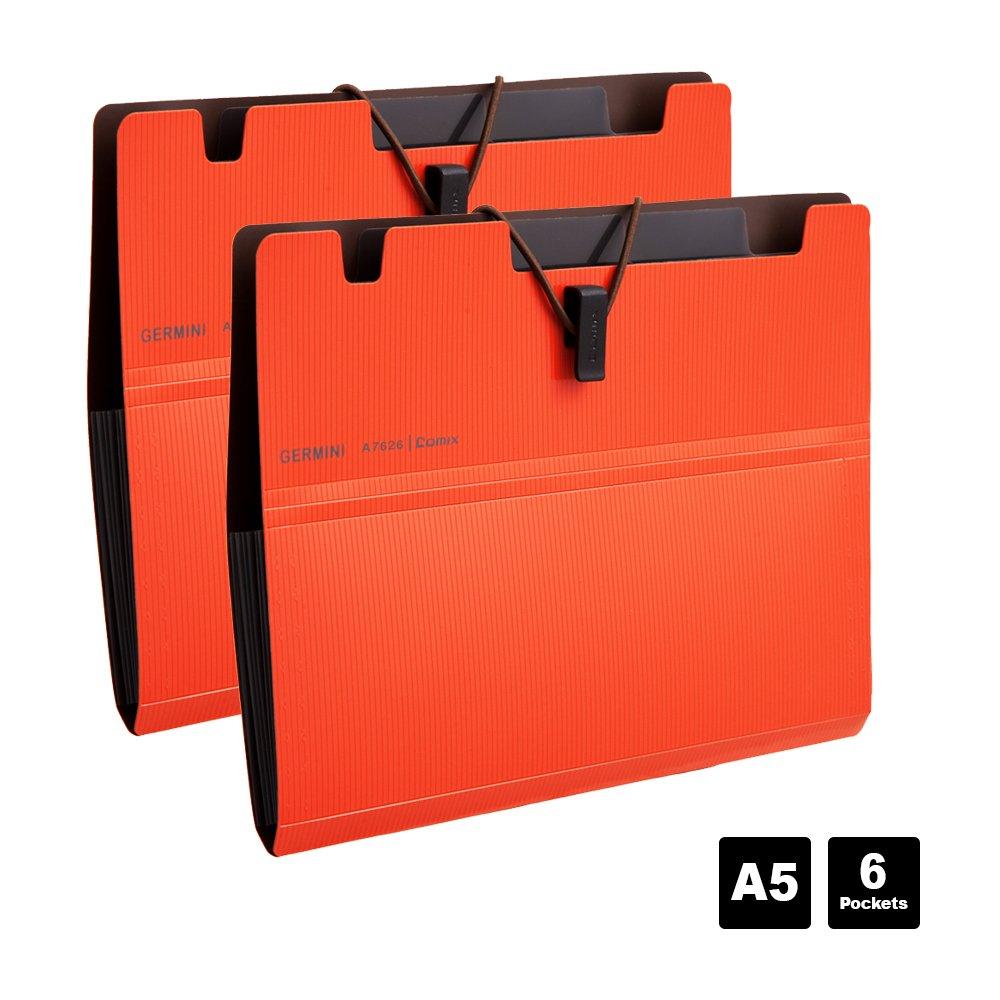 Comix A5 Carpeta Archivadora Carpeta A5 de expansion con goma elastica Paquete de 2-A7626 Azul
