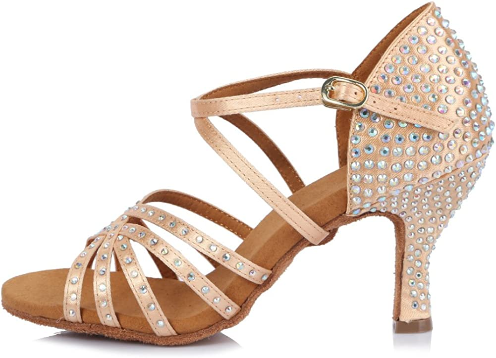 HROYL Latin Dance Shoes Women Rhinestone Dance Shoes Waltz Ballroom High Heel Shoes Women,YCL434
