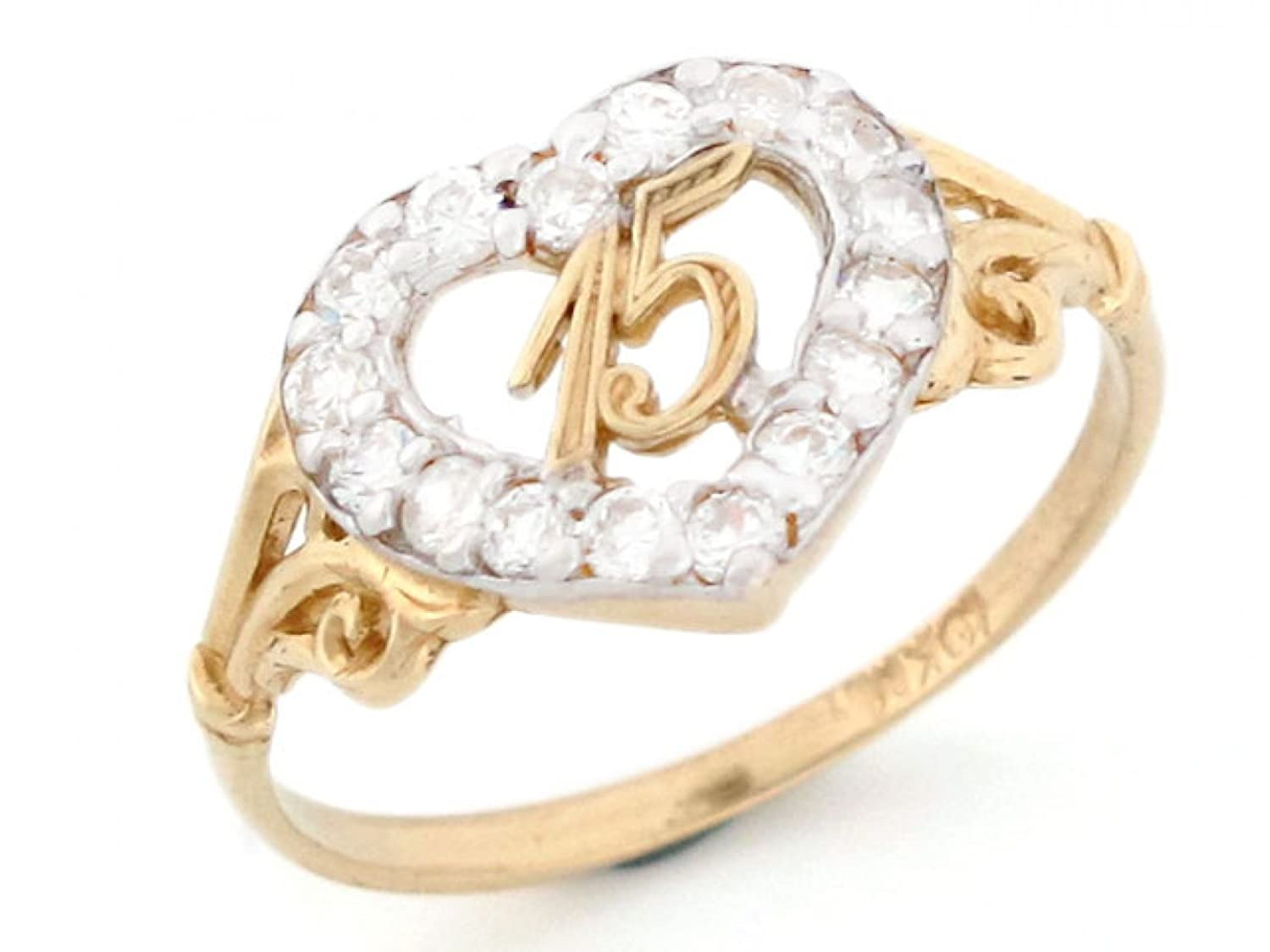 Amazon.com: 10k Gold 15 Anos Birthday Quinceanera CZ Heart Ring ...