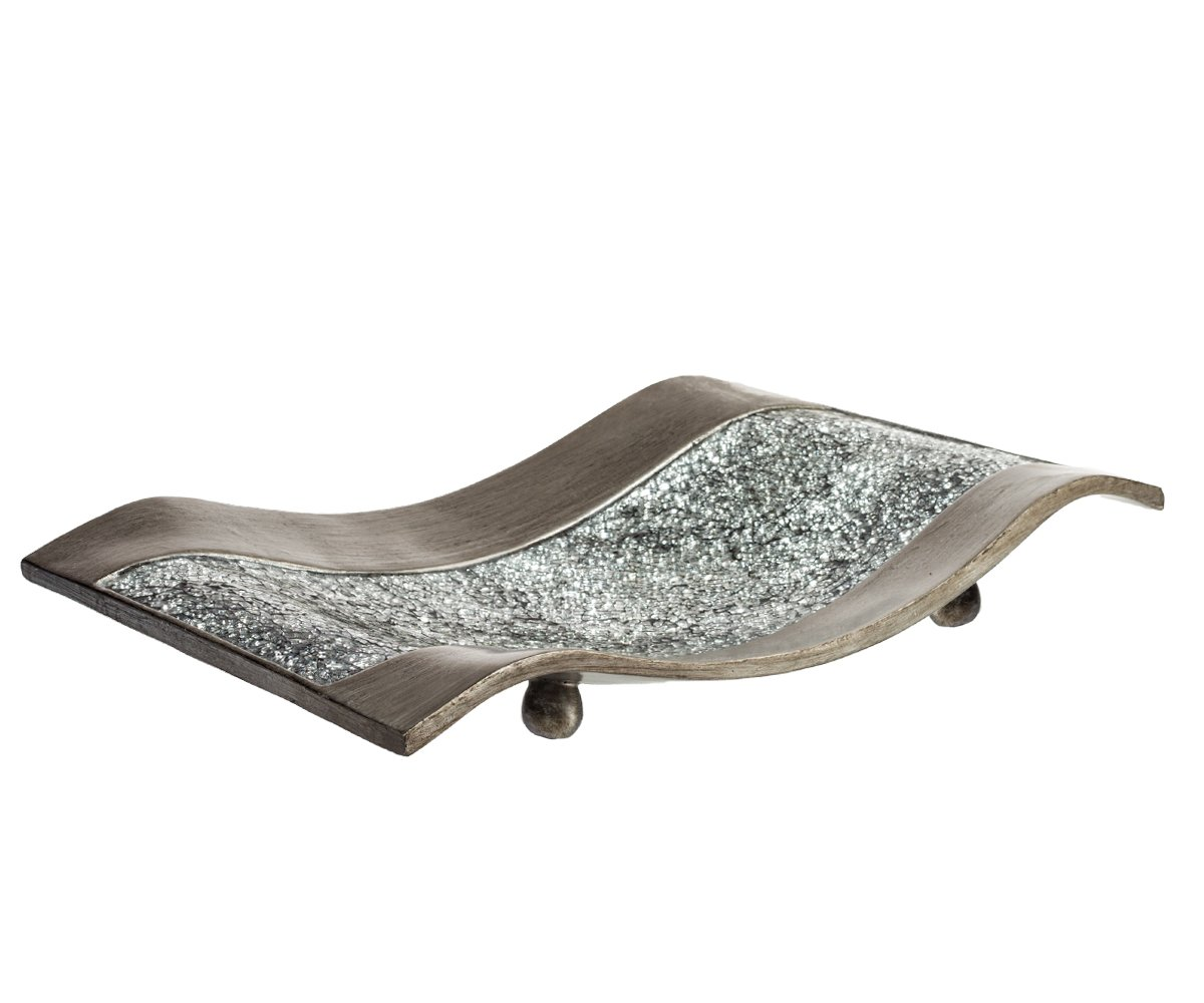Creative Scents Schonwerk Centerpiece for Dining Room -Crackled Mosaic Design- Home Coffee Table Decor Decorations Centerpiece for Dining/Living Room- Best Wedding Gift (Silver)