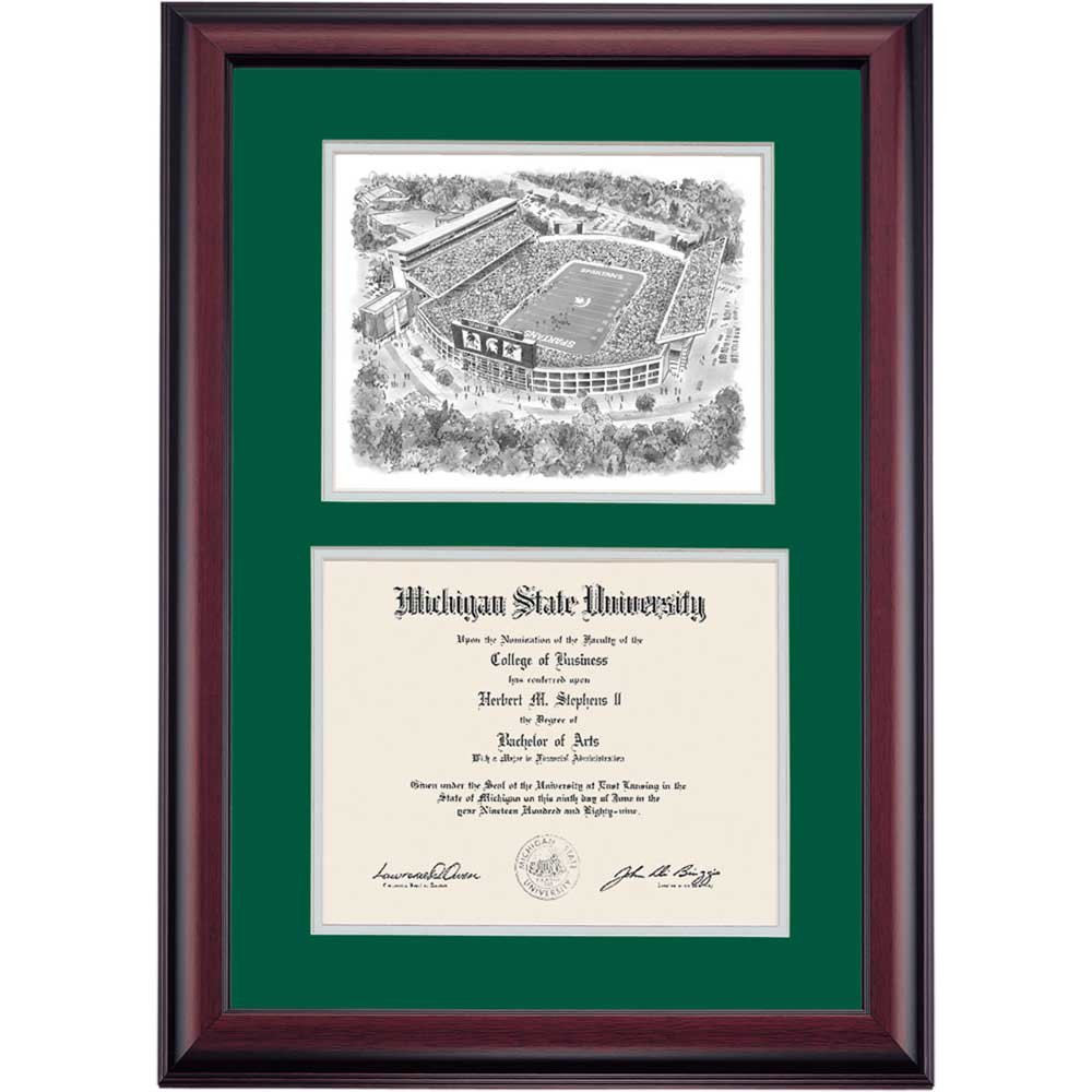 Campus Linens Michigan State Spartans Diploma Frame Green Gray Matting Stadium Pen & Ink