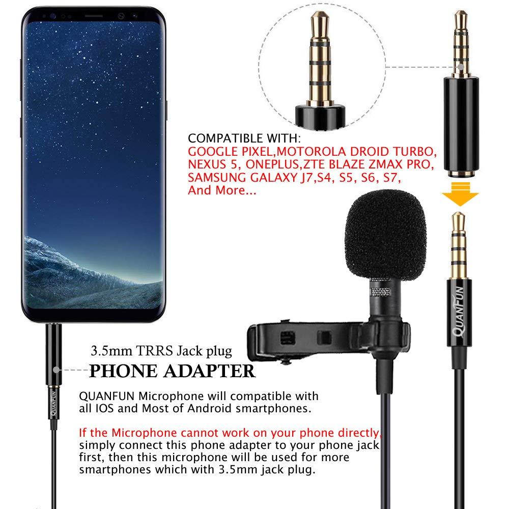 Amazon.com: Professional Lavalier Lapel Microphone Omnidirectional Mic Compatible for iPhone Samsung Android Smartphone PC Camera, for YouTube Recording ...