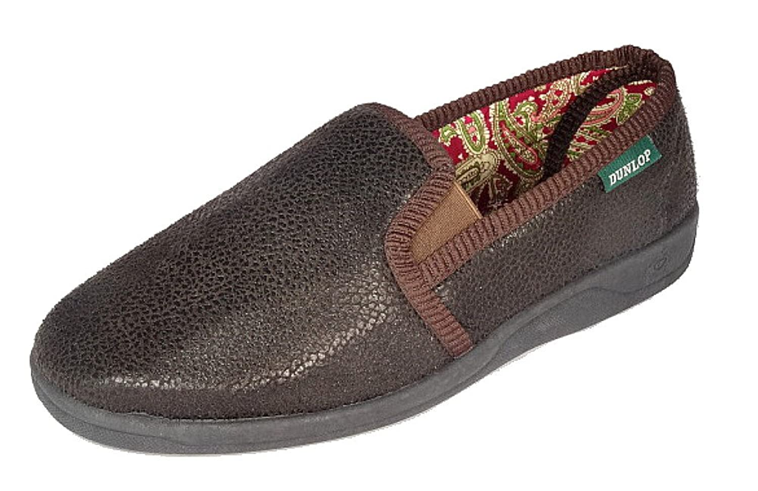 Mens Leather Bedroom Slippers Dr Keller Mens Faux Leather Look Twin Gusset Slippers Good Soles