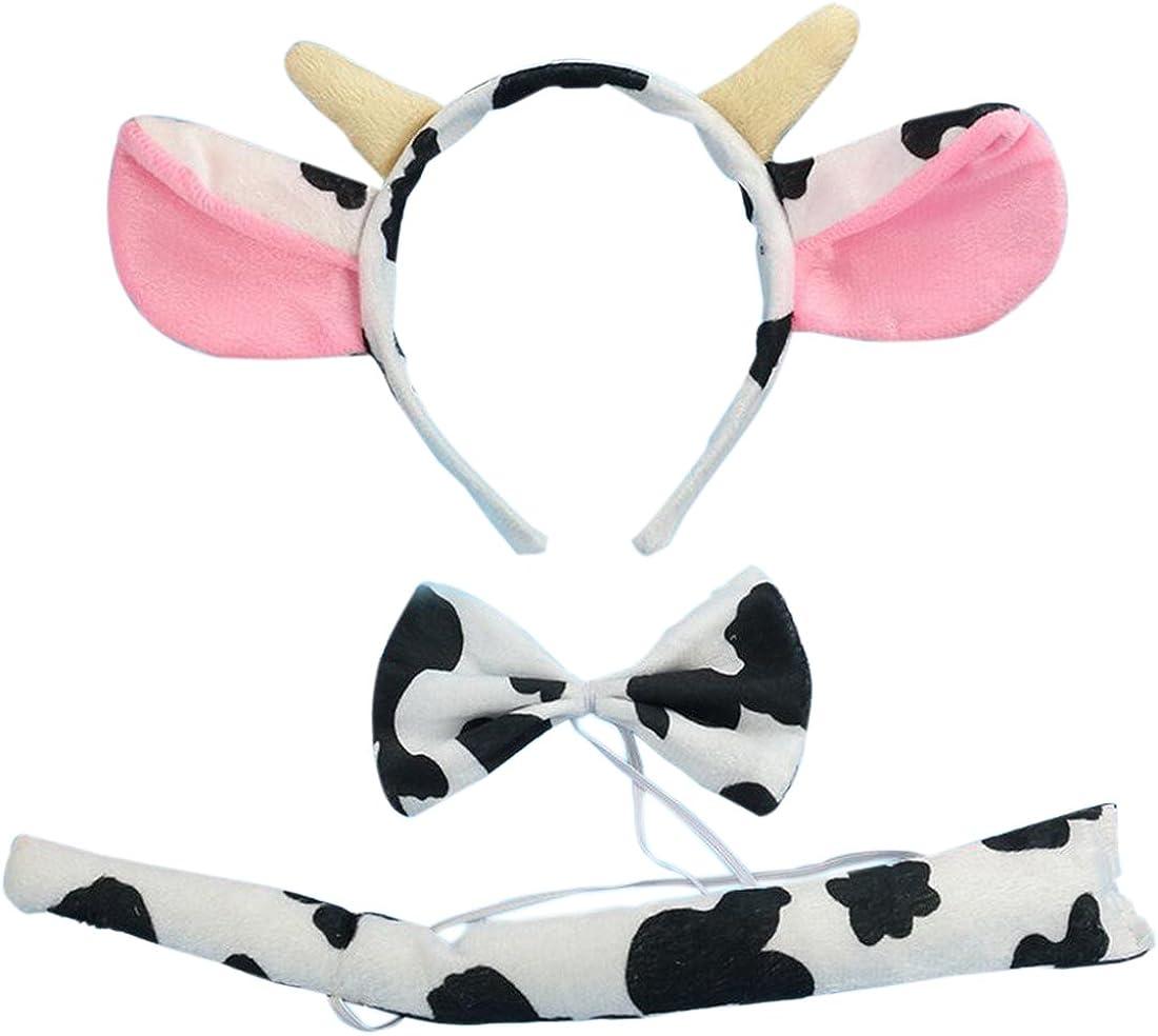 Marlegard 3PCs Funny Dalmatian Milk Leopard Costume Headband Ear with Tail Tie (Milk with Horn): Clothing