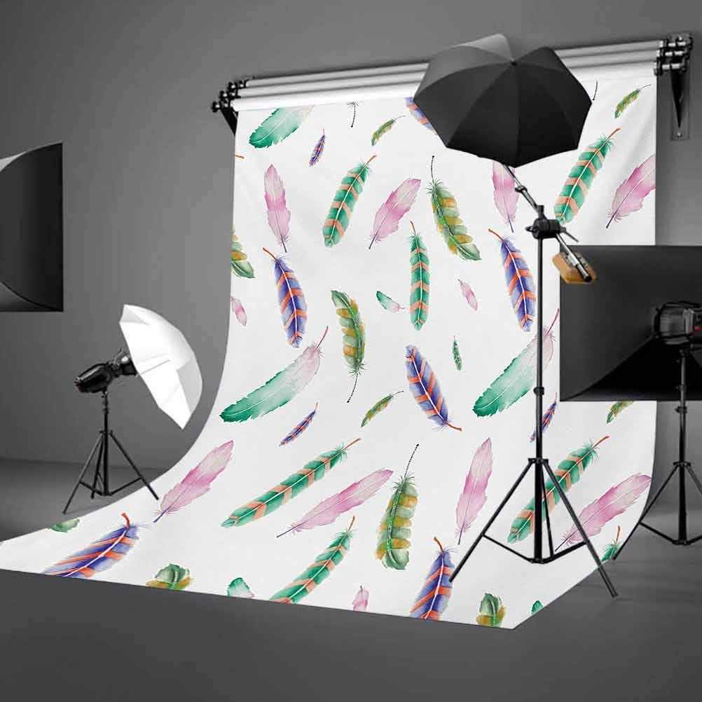 6.5x10 FT Backdrop Photographers,Irregular Watercolors Bird Feather Patterns in Soft Pastel Mint Plumage Design Background for Photography Kids Adult Photo Booth Video Shoot Vinyl Studio Props