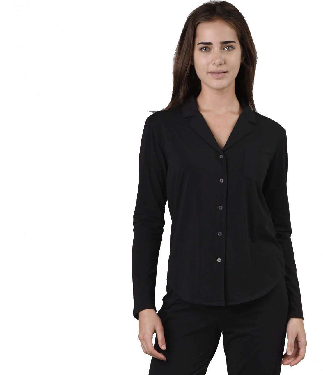 Naked Women's Essential Cotton Spandex Long Sleeve Button-up Pajama Set, Black, Large by Naked (Image #1)