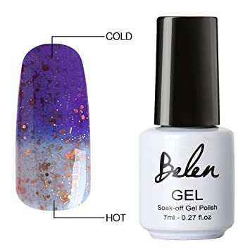 Belen Esmalte de Uñas de Gel Camaleón Cambio de Color con Temperatura Esmalte Semipermanente Soak-off UV LED Manicura y Pedicura 7ml-5023: Amazon.es: ...