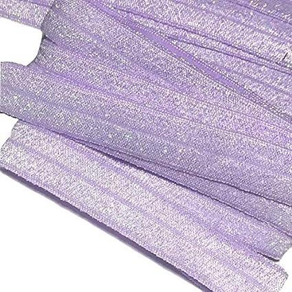 """1 yards Lavender 5//8/"""" solid metallic FOE Fold over elastic DIY hair ties"""