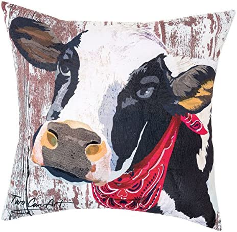 Amazon Com C F Home Cow Premium Indoor Outdoor Decorative Accent Throw Pillow 18 X 18 Red Home Kitchen