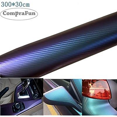 Vinilo Fibra de Carbono, CompraFun Película Pegatina Decoración Autoadhesiva A Prueba de Agua Libre de Burbuja 300*30CM, Uso Exterior Interior para Coche Motocicleta Móvil Ordenador (3D Azul púrpura)