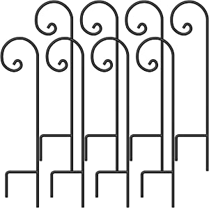BEAU JARDIN 8 Pack Shepherd Hook 37 Inch 2/5 Inch Hummingbird Bird Feeder Pole Garden Outdoor Hanging Plants Basket Hanger Pathway Light Solar Lantern Mason Jar Wind Chimes Wedding Black Metal
