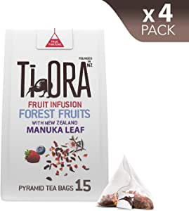 Ti Ora Fruit Infusion - Forest Fruits & New Zealand Manuka Leaf - 4 Packs of 15 Pyramid Tea Bags (60 Serves), 4 x 27 g