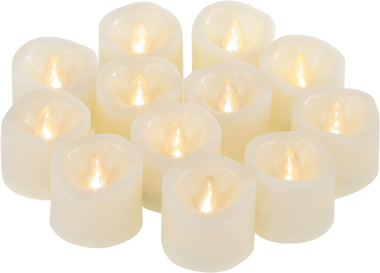 12 PCS Small Round Unscented Cream White Fake Flickering Battery Operated Powered Electric Flameless LED Tea Lights Tealight Votives Candles Bulk Set Lot Baptism Party Wedding Decorations Decor Gifts