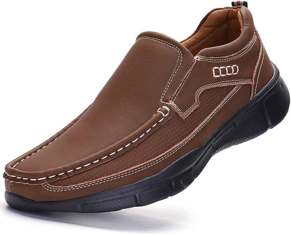 VENSHINE Mens Slip on Loafer Casual Walking Shoes Lightweight Fashion Leather Sneaker