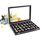 Wuligirl 7 Slots Velvet Ring Display Box Storage Jewelry Boxes Stackable Glass Top with Lid & Lock, Black (Rings Box)